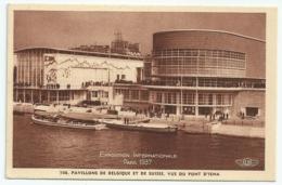 Exposition Internationale Paris 1937 - 106 - Pavillons De Belgique Et De Suisse, Vue Du Pont D'Iéna - Exposiciones