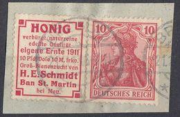TERZO REICH - Germania 10 Pf Rosso Con Associata Vignetta Pubblicitaria Michel R 22, Usati, Su Frammento Di Busta. - Abarten