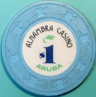 $1 Casino Chip. Alhambra, Aruba. S46. - Casino