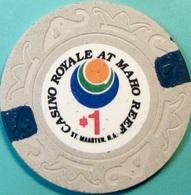 $1 Casino Chip. Casino Royale, St Maartens, Netherland Antilles. S46. - Casino