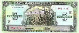 EL SALVADOR  5 COLONES GREEN MEN FRONT & MAN BACK  DATED 16-05-1990 P138 UNC READ DESCRIPTION CAREFULLY !!! - El Salvador