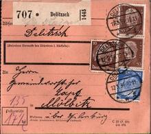 ! 1934 Paketkarte Deutsches Reich, Delitzsch Nach Mölbitz Bei Eilenburg - Briefe U. Dokumente