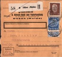 ! 1934 Paketkarte Deutsches Reich, Düben An Der Mulde, Bogenrand - Briefe U. Dokumente
