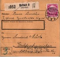 ! 1934 Paketkarte Deutsches Reich, Erfurt N. Gräfenhainichen - Lettres & Documents