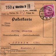 ! 1934  Paketkarte Deutsches Reich, Görlitz Nach Döbeln - Storia Postale
