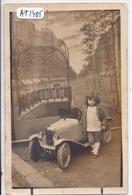 CARTE-PHOTO- JEUNE GARCON DEVANT SA BELLE VOITURE A PEDALES- DECOR BOUCHE DE METRO AVEC ENSEIGNE STYLE GUIMARD - Jeux Et Jouets