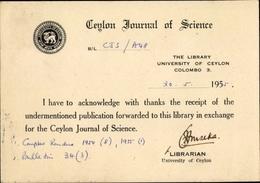 Cp Colombo Ceylon Sri Lanka, Ceylon Journal Of Science - Sri Lanka (Ceylon)