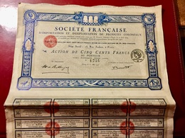 Sté  Française  D' IMPORTATION  Et  D' EXPLOITATION  De  PRODUITS  COLONIAUX -----Action  De  500 Frs - Industry