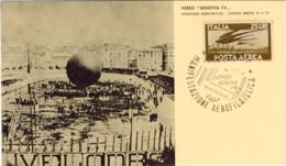 """1974- Posta Per Palloncino Cartolina Illustrata Affrancata Posta Aerea L.25 Rondini Cachet Verso """"Genova 74"""" Esposizione - Genova"""