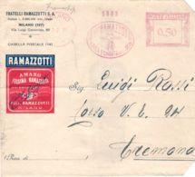 1931-busta (rifilata A Destra)della Ramazzotti Con Affrancatura Meccanica Rossa 50c. Ramazzotti Milano Casa Fondata Nel - 1900-44 Vittorio Emanuele III