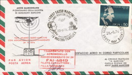 1974- Aerogramma I Centenario Della Nascita Di Guglielmo Marconi Bollo Rosso Trasportato Con Aeromodello Radiocomandato - 1946-.. Republiek