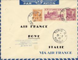 1947-Tunisia Aerogramma I Volo Air France Tunisi-Roma Bollo In Azzurro - Tunisia (1888-1955)