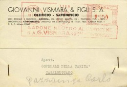 1950-affrancatura Meccanica Rossa L.15 Ditta G.Vismara,sapone Neutro Al Carotene - 6. 1946-.. Repubblica