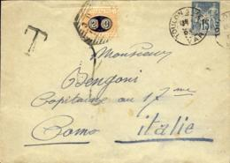 1893-France Francia Cat.Sassone Euro 200 Biglietto Postale 15c.,in Arrivo Segnatasse 20c. Su 1c. Mascherine Diretta In I - Storia Postale