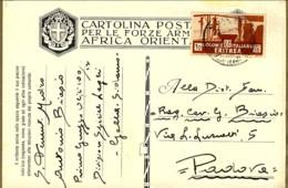 1937- Cartolina Postale Per Forze Armate Africa Orientale Affr. 15c. Soggetti Africani Cat.Sassone Euro 40 Annullo Posta - Stamped Stationery