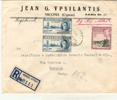 1947-Cipro Busta Raccomandata Diretta In Italia Affrancata Coppia 3p.+9p.Giorgio VI - Chypre (...-1960)