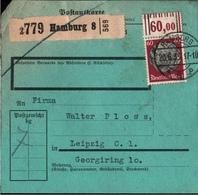 ! 1935 Paketkarte Deutsches Reich, Hamburg 8 Nach Leipzig, Bogenrand - Allemagne