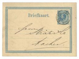 Briefkaart Amsterdam 1876 12M 3M Nach Aachen - 1852-1890 (Wilhelm III.)