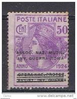REGNO:  1924  FRANCHIGIA  -  50 C. VIOLETTO  S.G. -  ASSOC. NAZ. MUT. INV. GUERRA  -  SASS. 9 - 1900-44 Victor Emmanuel III