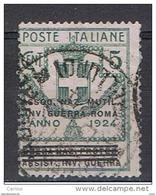 REGNO:  1924  FRANCHIGIA  -  5 C. VERDE  US. -  ASSOC. NAZ. MUT. INV. GUERRA  -  SASS. 5 - 1900-44 Victor Emmanuel III