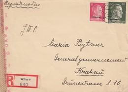 GG Ostland: Einschreiben Wilna Nach Krakau, Zensur - Besetzungen 1938-45