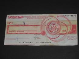 Ancien TRAVELER'S CHEQUE De 20 Dollars  - RAFIDAIN BANK- Head Office Baghdad Iraq ***** EN ACHAT IMMEDIAT **** - Chèques & Chèques De Voyage