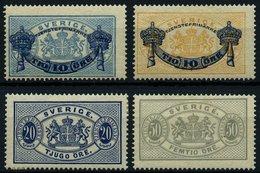 DIENSTMARKEN D 12/3,15/6 *, 1889/91, Wappenzeichnung, Falzreste, 4 Prachtwerte, Mi. 45.- - Dienstpost