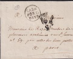 MARQUE POSTALE CALVADOS RARE PP DE CAEN SUR LETTRE AVEC TEXTE DE 1791 SUP - Marcofilia (sobres)