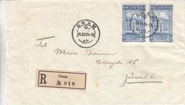 Suisse - Lettre Recom De 1924 - Oblit Cham - Exp Vers Zürich - U.P.U. - Valeur 26 €  ( 18 + 8 ) - Svizzera