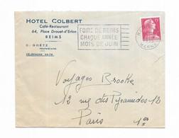 1955 Flamme FOIRE DE REIMS CHAQUE ANNEE MOIS DE JUIN - HOTEL COLBERT - Marcophilie (Lettres)
