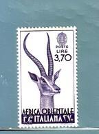 AFRICA ORIENTALE ITALIANA  1938  GAZZELLA DI GRANT LIRE 3,70   MNH** - Africa Orientale Italiana