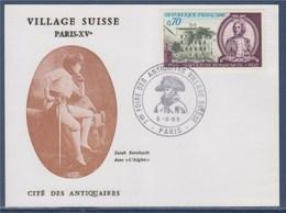 = Carte 7ème Foire Des Antiquités Village Suisse Paris 5.X.69 à Cité Des Antiquaires Timbre 1610 Napoléon Bonaparte - Marcophilie (Lettres)