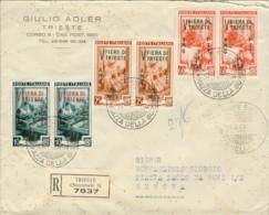 """1953-Trieste A Busta Raccomandata Affrancata Coppia S.3v.""""V Fiera Di Trieste"""" Annullo Fdc Del 27 Giugno - Storia Postale"""