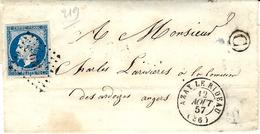 1857- Enveloppe D' AZAY LE RIDEAU ( Indre Et Loire ) Cad T15 Affr. N°14 Oblit. P C 219 + C Boite Rurale De Brisacière - Marcofilia (sobres)