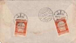 1921-Fiume Lettera Affrancata Con Quattro 20c.Governo Provvisorio (due Al Verso E Due Al Recto)con Asportazione Della Pa - Fiume