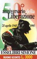 ITALY - URMET - 221 - 50° ANNIVERSARY LIBERAZIONE ITALIANA - MINT - PRIVATE CARD - Italië