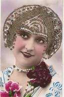 """Pretty Smilin Lady. Roses. Fantasy Hat"" Nice Vintage French Postcard - Femmes"