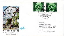 """BRD Schmuck-FDC """"150. Geburtstag Von Wilhelm Raabe"""" 2x Mi.1104  ESSt BONN 1, 13.8.1981 - BRD"""