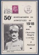 = 50è Anniversaire Armistices De 1918 Avec L'Autriche-Hongrie Le 3.11 à Padoue Flamme Paris Gare PLM 3.11.68 N°1536 - Commemorative Postmarks