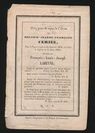 MELANIE CERIEZ - POPERINGE 1812 - IEPER 1848 - Avvisi Di Necrologio