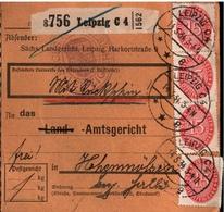 ! 1934 Paketkarte Deutsches Reich, Leipzig C4, Landgericht Nach Hohenmölsen, Dienstmarken - Briefe U. Dokumente