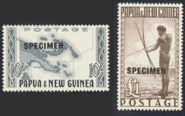 "1952-(MLH=*) Papua Nuova Guinea S.2v.con TL (light Hinge) Soprastampati Specimen ""Mappa,pescatore Cat.Gibbons �100,00"" - Papouasie-Nouvelle-Guinée"
