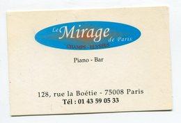 CdV °_ Resto-75008-Le Mirage De Paris-Piano Bar - Cartoncini Da Visita