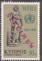 """1968-(MNH=**) Cipro S.1v.""""Anniversario W.H.O.""""soprast.specimen In Rosso - Cipro (Repubblica)"""