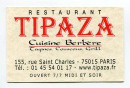 CdV °_ Resto-75015-Restaurant Berbère Tipaza - Cartoncini Da Visita