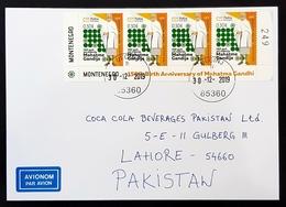 2019 Cover, The 150th Anniversary Of Birth Of Mohandas Gandhi, Ulcinj Montenegro To Coca Cola Lahore, Pakistan - Montenegro
