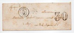 - Lettre SORÈZE (Tarn) Pour ALGER (Algérie) 27 OCT 1858 - Taxe Tampon 30 Centimes - - Marcophilie (Lettres)