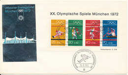 Germany FDC München 18-8-1972 Olympic Games 1972 Minisheet With Cachet - Summer 1972: Munich
