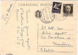 1941-cartolina Postale 30c.Imperiale Con Stemma Affrancatura Aggiunta Pegaso 50c.annullo Di Posta Militare N.61 - 1900-44 Vittorio Emanuele III