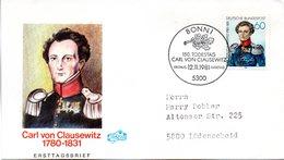 """BRD Schmuck-FDC """"150. Todestag Von Carl Von Clausewitz"""" Mi.1115  ESSt BONN 1, 12.11.1981 - BRD"""